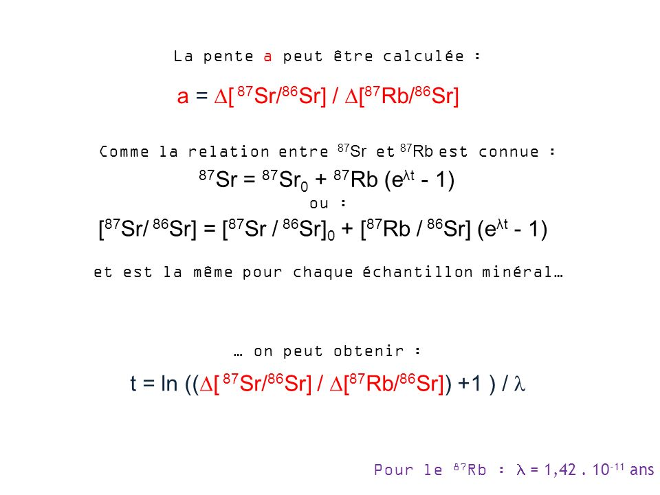 [87Sr/ 86Sr] = [87Sr / 86Sr]0 + [87Rb / 86Sr] (eλt - 1)